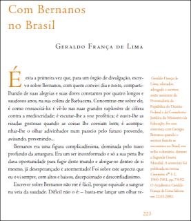 Geraldo de França Lima relembra a amizade com Bernanos