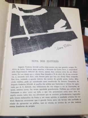 Augusto Frederico Schmidt e os Sonetos ilustrados num volume primoroso, 1965.