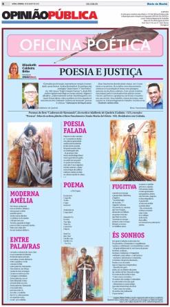 Oficina Poética #181, de Elizabeth Caldeira Brito, Diário da Manhã, 16-AGO-15.