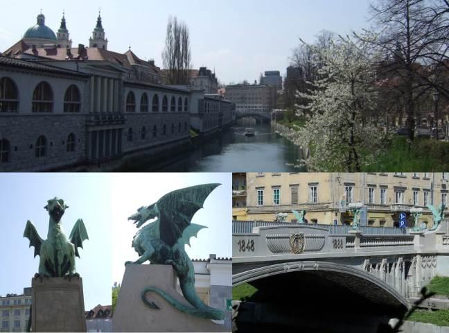Ljubljana - paisagem avistada da ponte do dragao, a ponte e os dragoes